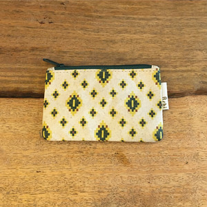 Ashi|亜紙 Flat Pouch S*Cambodia Traditional Design (Green) 紙ポーチ 伝統柄 カンボジア ハンドメイド