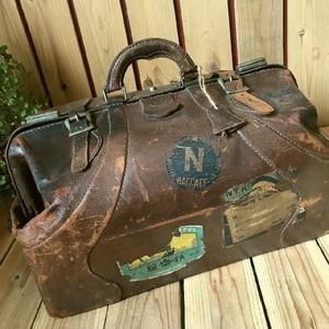 ≫1900s-1940'sアンティーク*古いオールレザードクターズバッグ*本革医者鞄*旅行かばんボストンダレスバッグ*ステッカー*ヴィンテージ戦前