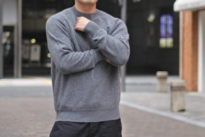 【Phlannèl】Wool Cashmere Crew Neck Knit(Men's) col.Gray