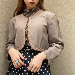 (LOOK) short length flower embroidery jacket