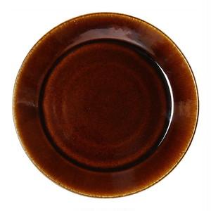 益子焼 つかもと窯 「伝統釉」 フラット プレート 皿 L 約25cm 飴釉 TH-1