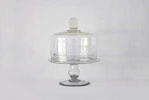glass cake stand with dome dead stock / 古いガラス ケーキスタンド デッドストック