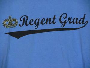 USA古着プリントリンガーTシャツS水色Regent Grad両面50/50美品