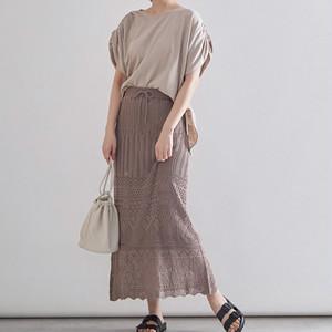 【即納】透かし編みレースロングスカート
