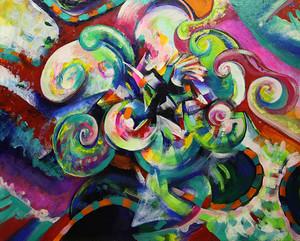 1点もの絵画「Kohsei Sekai Flower ~恒星世界 華~」恒星アクリル画