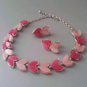 【CORO】ピンク×ピンク とびきりキュートなハート尽くしのネックレス&イヤリング 60年代