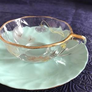 百花のティーカップ&ソーサー ペパーミントグリーン