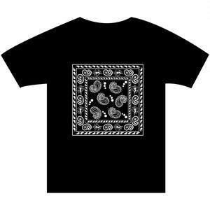 B4° ビヨンド Tシャツ TEE 半袖 半袖Tシャツ バンダナ ビッグ ペイズリー ギャング ラテンキングス Latin Kings 西海岸 黒×白  ヘビーウェイト フリースタイル ラップ ラッパー MCバトル 120 S M L XL XXL 2XL XXXL 3XL
