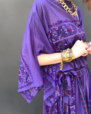70s purple floral dress ( ヴィンテージ  パープル 花柄 ワンピース )