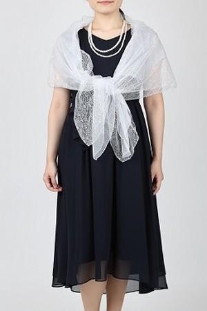 【新品3点セット】上品なネイビーのひざ下丈ドレスのコーディネート