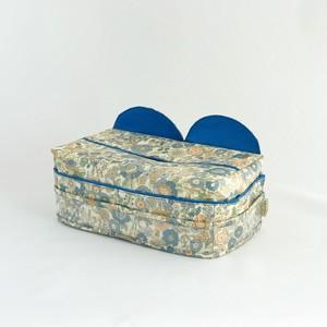 ティッシュカバー 1 ラミネート 花柄 青色