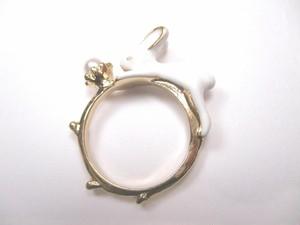 パールと白うさぎの指輪 単品(10号サイズor13号サイズ)