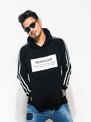 RESOUND CLOTHING(リサウンドクロージング)-CK-LINE P/O Hoodie/BLK ラインプルオーバーパーカー メンズ