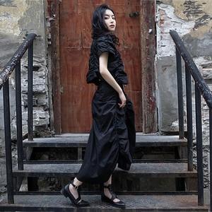ゴスロリ系 スカート ギャザー アシンメトリー ドレープ 細見え きれいめ 病みかわいい ストリート系 オルチャン 原宿系 10代 20代