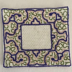 刺繍コースター額風10 薄紫 12x12cm  刺繍 プレイスマット 両面草木染め