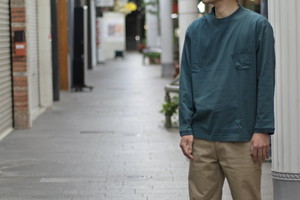 【maillot】us cotton double pocket long Tee col.GREEN