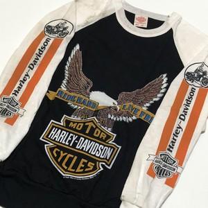 70's HARLEY-DAVIDSON イーグル×バー&シールド× 袖ハーレーバイクプリント ロングスリーブ 黒×白 ツートン カナダ製 T-Shirts DEAD STOCK(L)