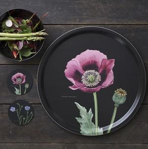 トレー 白樺 木製 Φ 38 KOUSTRUP & CO. - Pink Poppy ケシの花