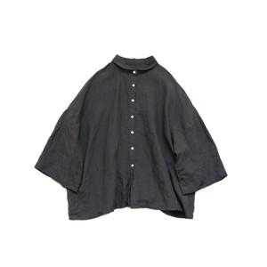 リネン小さな丸襟シャツ