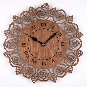 木の壁掛け時計D 薔薇(木製ウォールクロック)