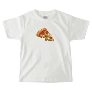 送料無料!【白・ピンク】ピザ柄キッズTシャツ