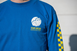 TEAM DREAM BICYCLING TEAM / Check Yo Self Checkered Sleeve Long Sleeve / Ryal Blue