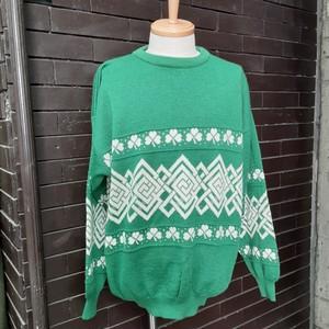 Clover Patterned Sweater Knit クローバー柄 セーター ニット