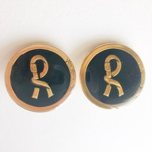 """Roberta"" black (navy) earring[e-1167]"