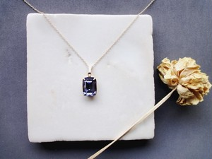 Vintage Stone Necklace■Octagon■Tanzanite