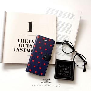 イングランドカラー・ハート柄スマホ手帳ケース(iPhone/android各種)カードポケット付き