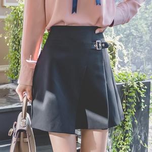 【送料無料】【3色】バックル付き 飾りベルト風 ラップ風 台形 ミニスカート ショート 無地 カジュアル