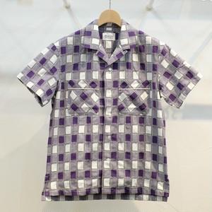 KUON(クオン) 吉野格子(柳格子) オープンカラーシャツ パープル