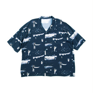 PORTER CLASSIC Bon Dance Aloha Shirt Navy PC-024-1075-41