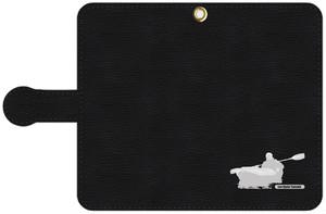 手帳型スマホケース・黒レザー調 S, Mサイズ パドリングシルエット(Leo R. Yamada)・ホワイト