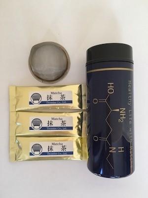 初めて抹茶を作る方向けの簡単抹茶入門セット(送料無料)(テアニン柄青)