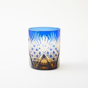 無料包装 結婚祝 海外土産 記念品に江戸切子の琥珀色瑠璃被せ ロックグラス
