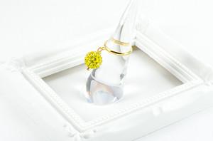 ラインストーンパヴェボール ピンキーリング シトロン(黄色) pve-ringcitron1 指輪 パヴェ