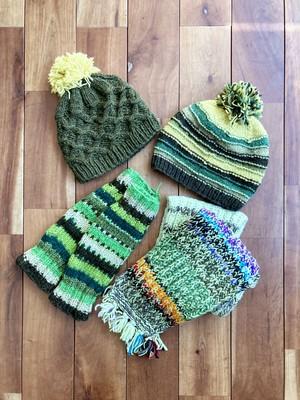【ネットショップ限定】ネパール手編みウールアイテムセット【グリーン系】