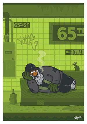 《山本周司 イラストポストカード》CY-17/ 横たわる男