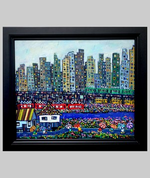 OIL COLOUR    雨のまち    CITY   油彩画