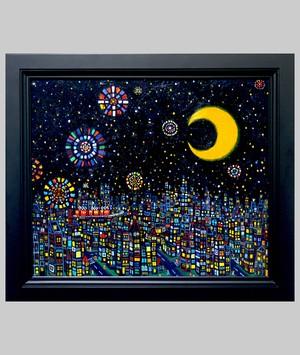 OIL COLOUR |  夜のまち  | CITY | 油彩画