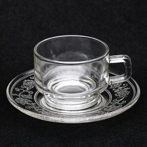 昭和 レトロ 曽我ガラス(SOGA) カップ&エンボス ソーサー クリア (067)