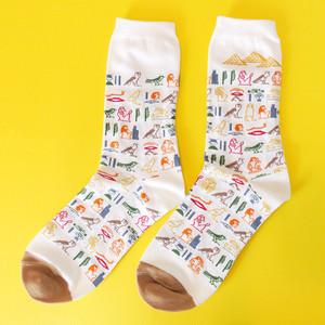 新商品《鳥/ふくろう》 靴下 古代エジプト学 ヒエログリフ 22〜25cm GARAPAGO SOCKS