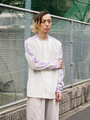 Quatorze コード付きウールシャツ(White × Purple)