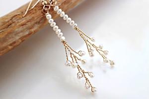 淡水真珠のスティック小枝風・ロングピアス(スモールサイズ)