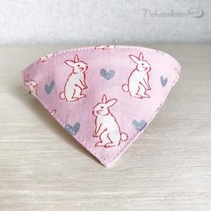 【ハートうさぎ柄】猫用バンダナ風首輪/選べるセーフティバックル 猫首輪