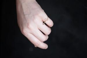 線と円の指輪no3 (gold)