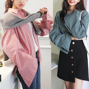 【秋冬新作】ワイドスリーブストライプシャツ