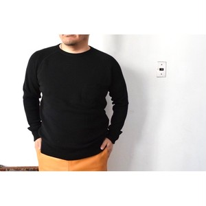 Simva115-0001 Cotton/Wool W-Pocket Crew Neck