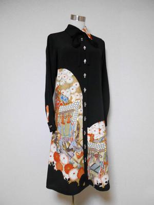 着物ロングシャツ(ボウタイ付き)  Kimono Long Shirt  LO-149/M